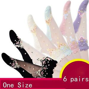 6 Pairs Ladies Floral Sheer Lace Ruffle Short Ankle Socks Lolita Cute Thin Socks