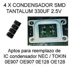 4X CONDENSADOR CAPACITOR 330UF 2.5V REPLACE NEC TOKIN 0E907 OE907 0E128 OE128