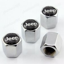 NEW 4X Chrome Silver jeep Wheel Tire Valve Caps Stem Air Covers Wrangler Compass