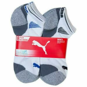 8 Pairs Puma Mens Sport Crew Socks CoolCell Extra Large Shoe Size 12-16 White