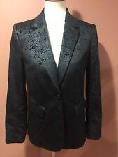 Alice Olivia Black Jacguard Blazer Jacket Floral Print Size M