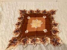 Vintage Hanky Handkerchief Hankie women's ladies maple Tree leaf leaves brown