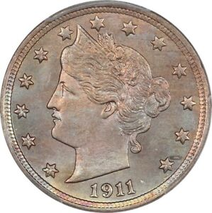 1911 Near Gem BU Liberty Nickel PCGS MS64 CAC- Full Luster, Wonderful Color!