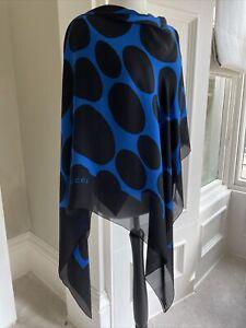 Gucci Large Silk Scarf Black & Vibrant Blue 136/138 Cm 100% Genuine