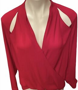 Trouve Nordstrom Womens Small Cross Front Top Red Long Sleeve Wrap Style Slits