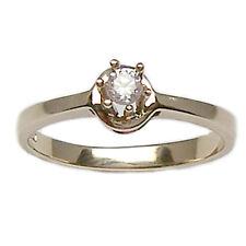 Anillo para compromiso solitario de oro blanco 18 ct 750% con diamante natural