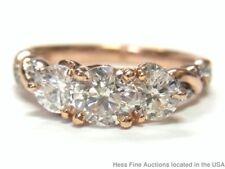 1.40ctw Diamond 14k Rose Gold Past Present Future 3 Stone Ladies Ring Size 4
