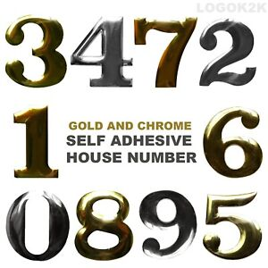 Self Adhesive House Number Door Plaque Sign Chrome Home Letter Apartment Gate