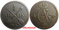 SWEDEN COPPER 1803 1/2 SKILLING OVERSTRUCK ON 1 ORE 1769 S.M. EARLY SCARCE DATE