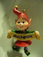 NEW GIRLS NAME MACKENZIE CHRISTMAS TREE ORNAMENT ELF PIXIE HOLIDAY XMAS ELVES