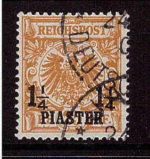 Deutsche Post in der Türkei, Mi-Nr. 9 b III, gestempelt, Aufdruckfehler, geprüft