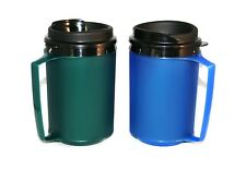 2 Foam Insulated 12oz ThermoServ Travel Mugs Green Blue