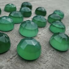 AAA Quality 25 Piece Natural Green Onyx 8x8 mm Round Rose Cut Loose Gemstone