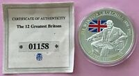 THE 12 GREATEST BRITONS,SIR WINSTON CHURCHILL,SILVER PLATED PROOF COIN/MEDALLION