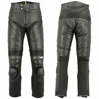 Mens Biker Pants Heavy Duty Thermal Lining Black Soft Leather Trousers