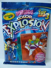 NEW Crayola Toy Story 3 NEON Color Explosion 18 Sheets 8 Markers Disney Buzz NIP