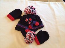 Next Kid's Navy Hat & gloves with Knitted Designed Strawberries & Flowers