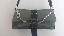 Christian Dior Authentic Grey Canvas Rhinestone Hardcore Flap Handbag Purse