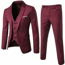 Mens Slim Fit Tuxedo Three Pieces Coat Vest Pants Formal Wedding Dress Suit Vest