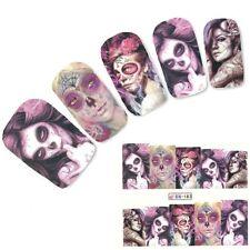 Nail Art Sticker Water Decals Transfer Stickers Halloween Skull Gothic (BN183)