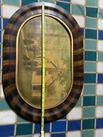 Vintage Wooden Oval Picture Oval Original Old Picture With Farm House 25x17