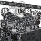 AÑOS 18 - Feliz 18th Cumpleaños Negro & Plata Glitz - Fiesta GAMA, Pancartas,