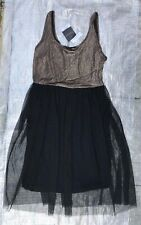 "BNWT LADIES "" TOPSHOP "" METALLIC BODICE JERSEY TULLE DRESS - UK 14 ! RRP £36"