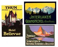 LUGGAGE LABELS GROUP OF 3 SWISS HOTELS ZERMATT INTERLAKEN THUN