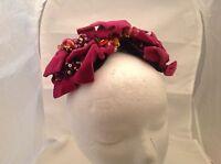 Vintage Ladies Hat Headpiece  Dark Blue Base W/ Fuchsia Velour Loops W/ Flowers