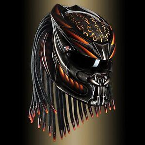 Custom Predator Helmet Orange Fire Line Style (APPROVED DOT/ECE)