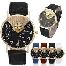 Contracted Unisex Mens Leather Band Watchs Analog Quartz Business Wrist Watch
