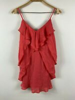 Wish Womens Siren Dress Size 10 Short Pure Silk Frilly Light Red Thin Strap