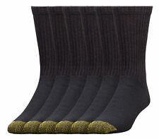 GOLD TOE Men's 6 Pairs Standard Crew Athletic Sport Socks Black - 711-656S-001