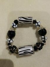 Beaded Stretch Bracelet Lilah Ann And Jesse James Beads Black and White