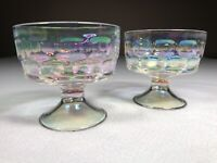 "Carnival Glass Candy Dish Set Of 2 Iridescent 3.5"" Tall Clear Glass Light Sheen"