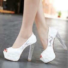 Ladies Princess Lace High Heels Party Queen With Glitter Platform Wedding Shoes