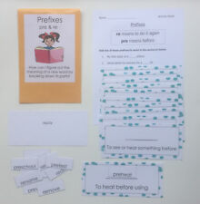 Teacher Made Literacy Center Vocabulary Learning Resource Game Prefixes pre & re