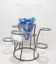 Tapered Glass Vase Decorative Marbles Tealight Votive Holders Group of 6