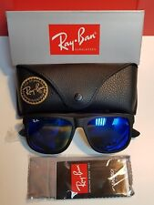 Ray-Ban Sunglasses Justin 4165 622/55 Rubber Black Blue Mirror 54mm
