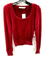 Anthropologie ASTR the Label Fuzzy Crop Sweater Red Wine Womens Small NWT