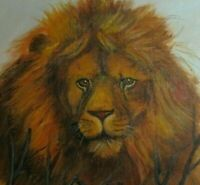 Original Vintage Oil Painting Lion Portrait Fine Art Country Folk Art Primitive