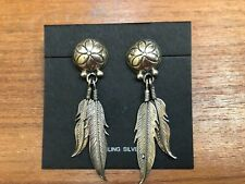 Feather Post Earrings Native American  Sterling Silver