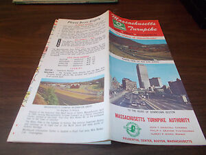 1967 Massachusetts Turnpike Vintage Road Map and Guide