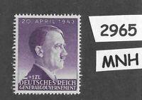 #2965   MNH Hitler stamp 12Gr + 1ZL 1943 / Third Reich / Occupied Poland WWII