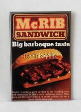 "Vintage McDONALD'S McRIB SANDWICH 2"" x 3"" Fridge MAGNET Art Fast Food Hamburgers"
