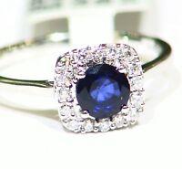 1.0CT 14K Gold Natural Sapphire Round Cut White Diamond Engagement Ring Vintage