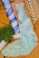 Jovani Pageant Dress size 8; light blue with lots of beading & ostrich feathers