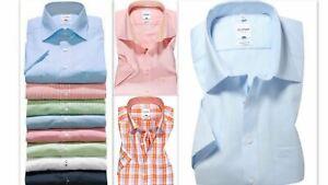 Mens Shirt Olymp Tendenz Regular Fit Pure Cotton Easycare Short Sleeve