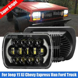 Black 120W 5x7'' 7x6'' inch LED Headlight Hi/Lo Beam DRL For Jeep Cherokee XJ YJ