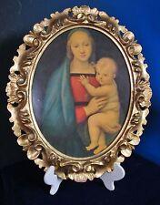Antique Italian Hand Carved Wooden Frame Raphael Madonna & Child Print